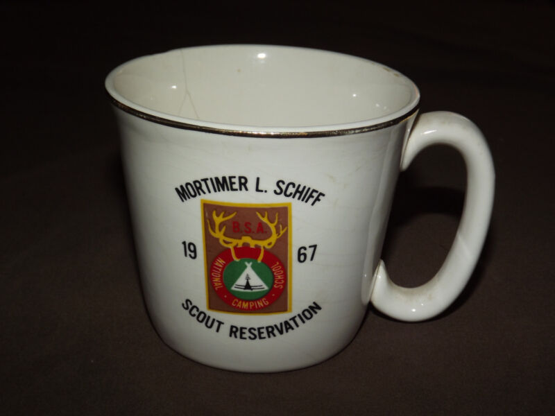 VINTAGE BSA BOY SCOUTS COFFEE MUG  1967 MORTIMER L SCHIFF SCOUT RESERVATION