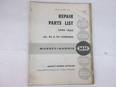 Massey Harris Ferguson Combine Repair Parts List 60 80 90