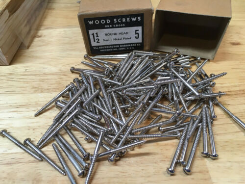 "144 New So Hard #5 x 1-1/2"" Nickel Plated Round Head Wood Screws Slotted USA Box"