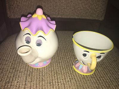 Vintage Disney Beauty and The Beast Mrs. Potts TEAPOT Plastic Eyes Open & Close
