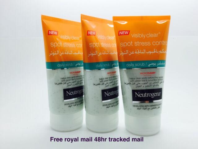 x3 150ml  Neutrogena Visibly Clear Spot Stress Control Daily Scrub Unclog Pores