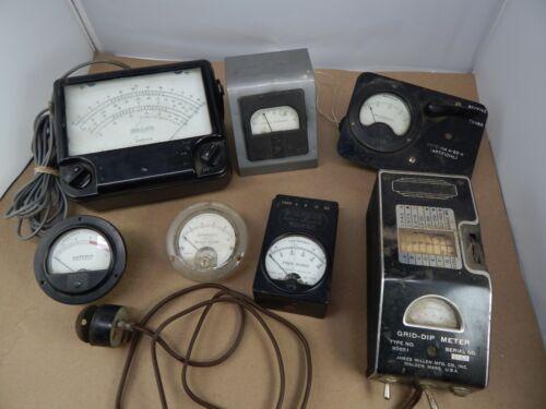 lot of 7 vintage Elec TEST METERS Temp Grid-Dip, Antenna VOLTS AMPS Steam Punk