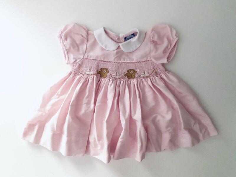 Vintage Carriage Boutique Smocked Bear Dress Pink 6 Months