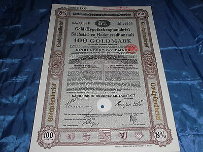 185 : histor. Wertpapier , Gold Hypotheken Pfandbrief Sachsen , Dresden 1928
