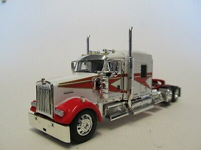 DCP 1/64 SCALE W-900 KENWORTH MIDROOF,  RED & WHITE, YELLOW ENGINE,