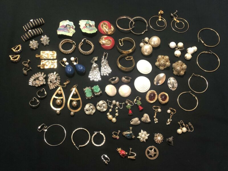 Jewelry Earrings Lot Of 33 Pairs & 12 Singles For Wholesale