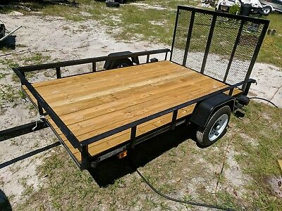 5x8 Wood Bed Ramp Trailer For Atv Utv Lawn Tractor Golf Cart Zero Turn Ztr