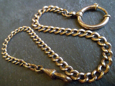 Beautiful Antique Victorian 9ct Rose Rolled Gold Albertina Pocket Watch Chain