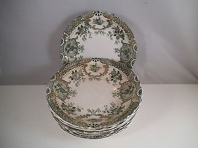 Antique Wedgwood Royal Raleigh Green Set of 7 Berry Dessert Bowls Bowl