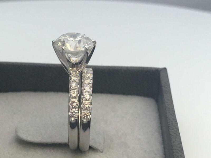 Authentic Band Set Diamond Ring Certified Vs1 3 Carats 14k White Gold Women