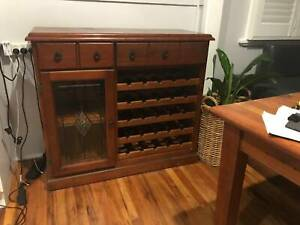 Cabinet with 5 drawers wine rack, solid pine in very good condition