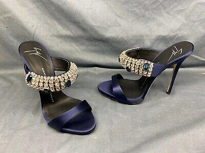 Giuseppe Zanotti Satin and Crystal Heels Size 7 Navy DISPLAY MODEL!