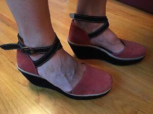 Fly London red suede wedge heels