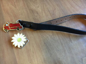 """20"""" Genuine Leather Kids Belt with Exchangeable Belt Buckles"""