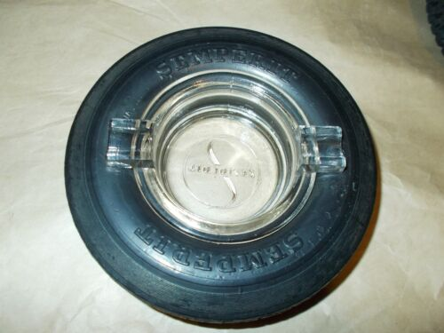 RARE SEMPERIT TIRE ASHTRAY WITH EMBOSSED GLASS INSERT MINT