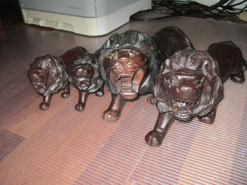 Hand Carved WOOD LIONS, Four Total Two Pairs A Large Pair 11.5 Small Pair 7.5in