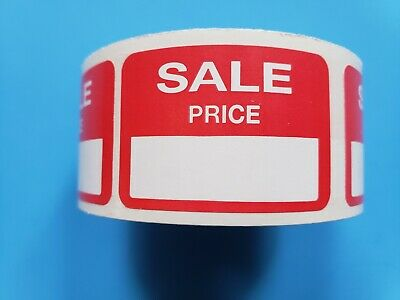 500 Self-adhesive Sale Price Rectangular Retail Labels Sticker Red Merch Tag