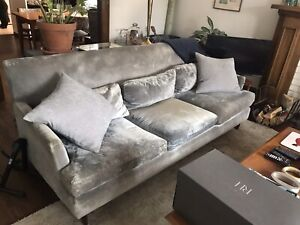 Blue/grey velvet couch