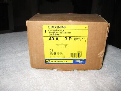 Square D Edb34040 Edb 34040 3 Pole 40 Amp Circuit Breaker - New In Box