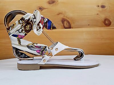 Cape Scarf Wrap Flat Thong Sandal White Casual Summer Shoes (Cape Thong)