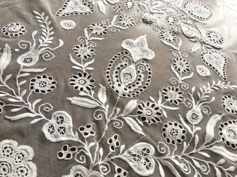 Antique Vintage Large Tulle Lace White Panel 40x41 Inches