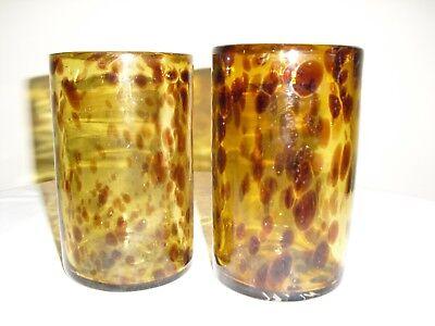 TORTOISE SHELL, HANDBLOWN GLASS TUMBLERS  --  Set of (Circle Tortoise Shell Glasses)
