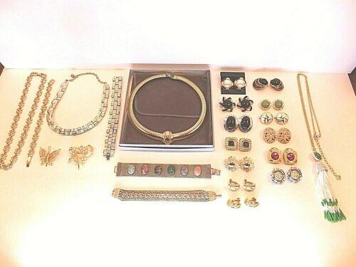 VTG Lot of 23 All Signed Pieces Earrings Necklace  Avon Lisner Sara Trifari Karu