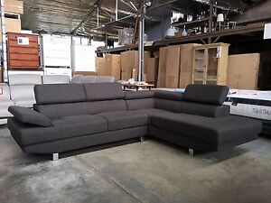 Lunar Fabric & Bonded Leather Corner Lounge - Brand New! Richmond Yarra Area Preview