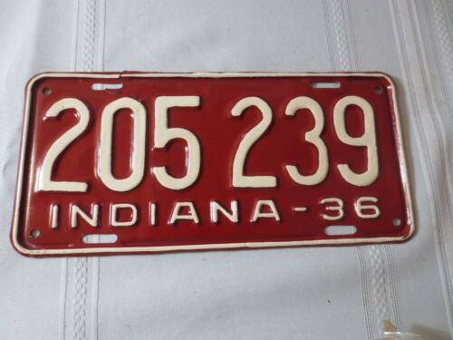 1936 INDIANA RESTORED LICENSE PLATE 205-239