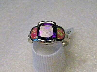Silver Faux Pink Opal & Amethyst Ring, Size 7, Modern, Clear Stone Accents Faux Accent Stones