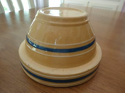 "SCARCE Vintage Yellow Ware 5"" Small Blue & White Banded Mixing BOWL"