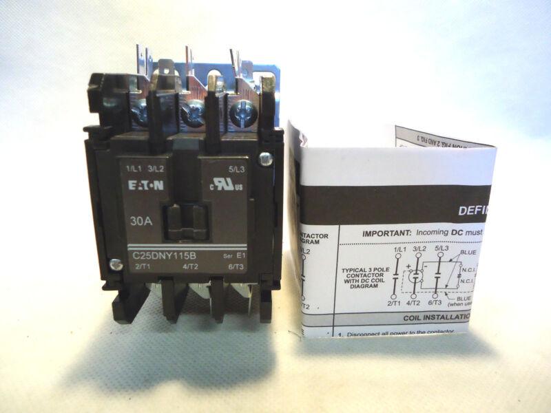 NEW EATON/CUTLER HAMMER C25DNY115B 208-240V COIL CONTACTOR 30AMP