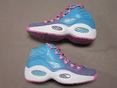 Pink Womens Basketball (REEBOK WOMENS PINK & BLUE THE QUESTION MID BASKETBALL SNEAKERS SHOES SIZE 7 NEW)