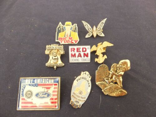 Lot of Vintage Misc Rare Lapel pin Backs Ford Dick Tracy Red Man Mirth is King