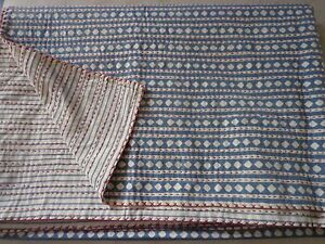 Kantha Throw Handmade Block Print Queen Quilt Patch Work Bed Cover Let Indian