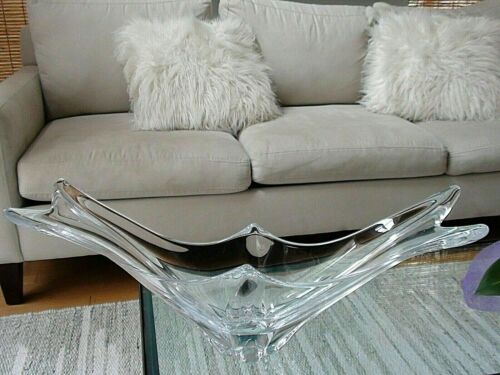 Daum Crystal Clear Swallowtail/Elongated Bowl Centerpiece