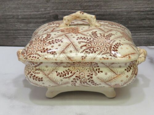 Antique Aesthetic Brown Transferware Covered Butter Dish Footed Box Square