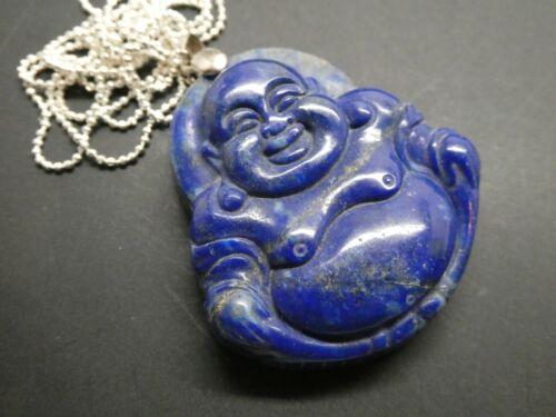 "Vintage Blue Lapis Hotei Buddha Genuine Sterling Gemstone Pendant Necklace 24"""