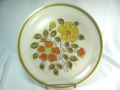 VTG Stoneware Dinner Plate Wild Flower Japan Yellow and Orange Flowers ()
