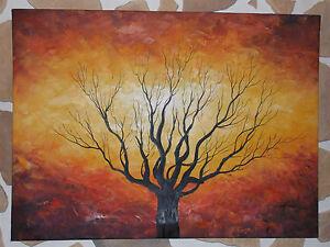 ... , peinture paysage,arbre coucher de soleil multicolore jaune rouge