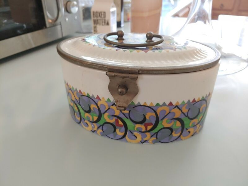 Antique Porcelain Lunch Box/Biscuit Container Semi Vitreous