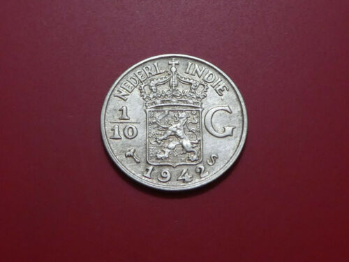 NETHERLANDS EAST INDIES 1/10 GULDEN 1942 Silver San Francisco Mint