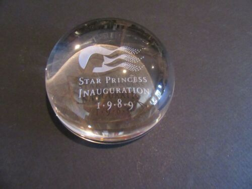 Star Princess Cruises 1989 Inauguration Round Dome Glass Paperweight Etched