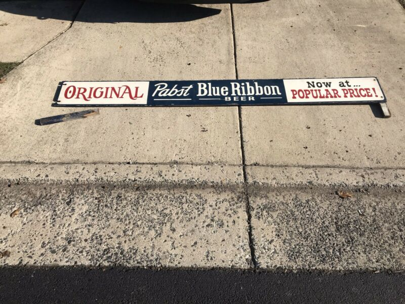 "Old Pabst Blue Ribbon PBR Beer Wood Advertising Sign -Large 109"" Long-"