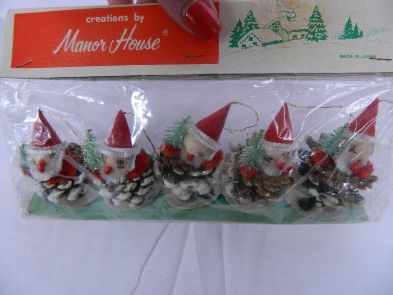 5 Vintage Christmas Santa Elf Elves Pinecone Spun Cotton Chenille Japan NIP