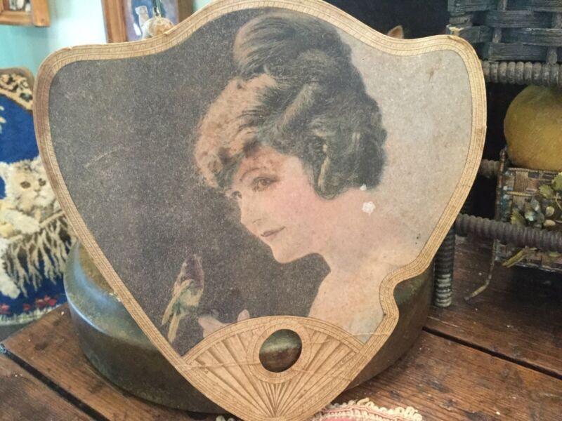 Antique Lady w Bird Cardboard Paper Fan Advertising Funeral Director In  MI