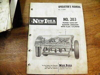 New Idea No. 203 Manure Spreader Operators Manual Wparts List