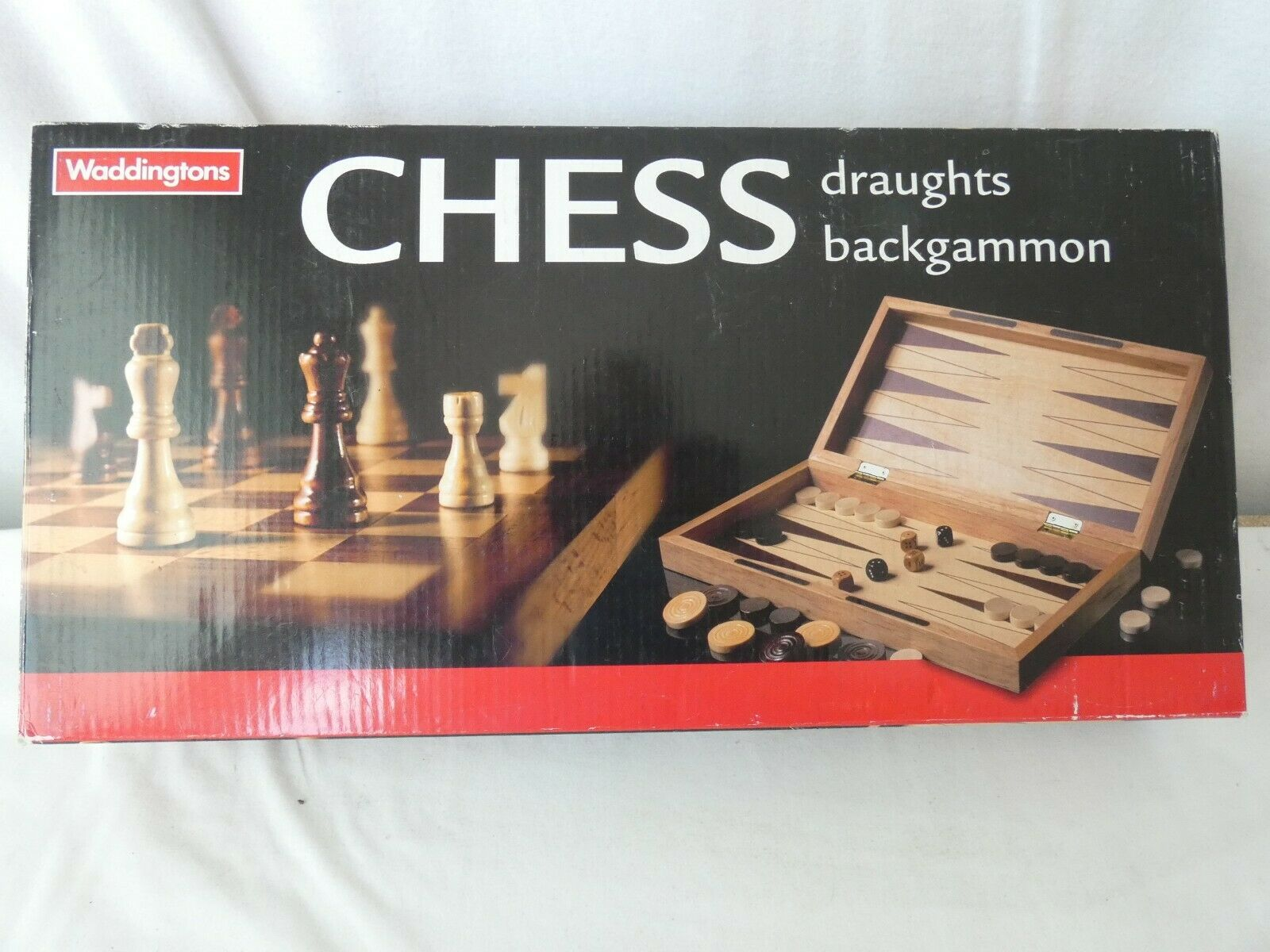 Wooden chess draughts backgammon board games by Waddingtons 3 in 1