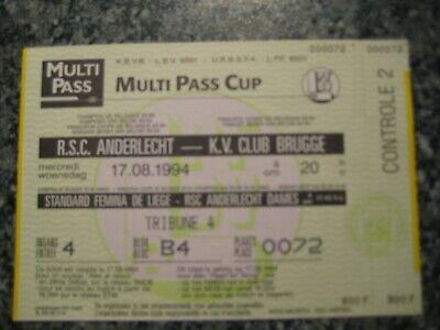 Ticket: Anderlecht - FC Bruges Club Brugge Super Coupe Belgique (17-8-94)