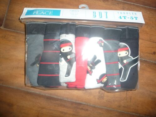 NEW NWT Childrens Place Boys Briefs 7-Pack Size 4t-5T ninjas